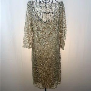 Kay Unger embellished lace over silk dress 16